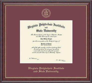 Classic Frames Virginia Tech Hokies Diploma Frame Embossed Studio Gold, Maroon-222523 (Classic Frames)