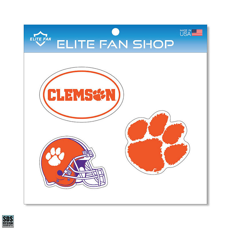 "Clemson Tigers 6"" Vinyl Decal 3-Pack DCL01"