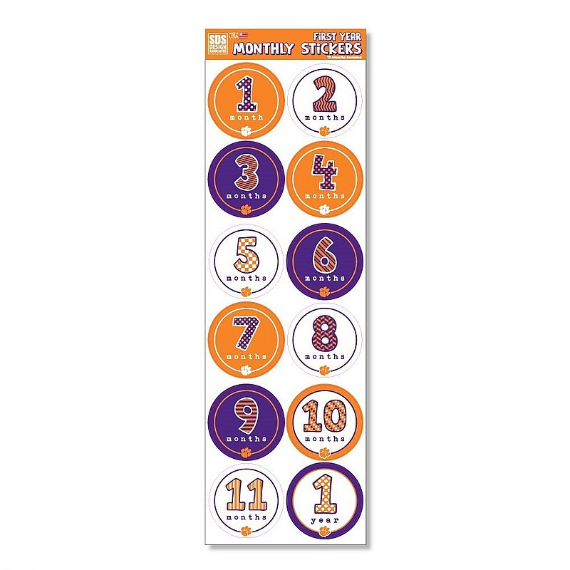 Clemson Tigers Baby's First Year Monthly Stickers