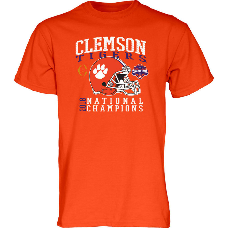 Clemson Tigers Champs Tshirt 2018 - 2019 Helmet Orange NEVER-DIE-CFP18-NC