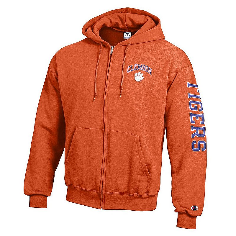 Clemson Tigers Full Zip Hooded Sweatshirt Letterman Orange APC02984829/APC02974099