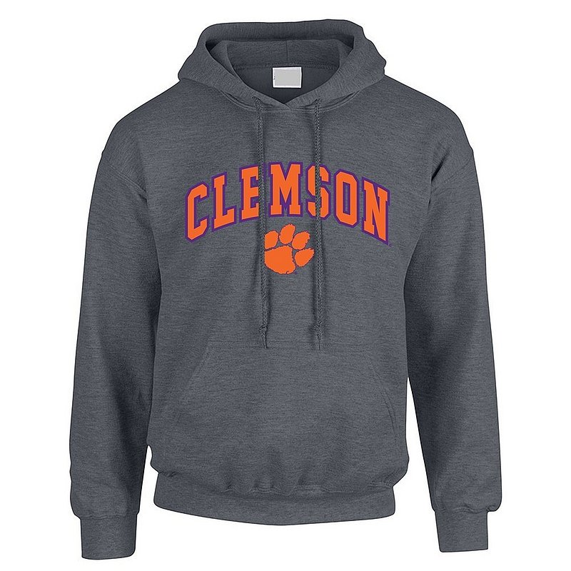 Clemson Tigers Hooded Sweatshirt Arch Over Plus Size Charcoal