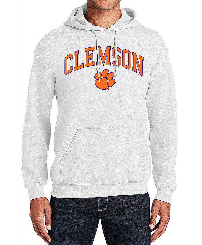 Clemson Tigers Hooded Sweatshirt Varsity White Arch Over APC03006348*