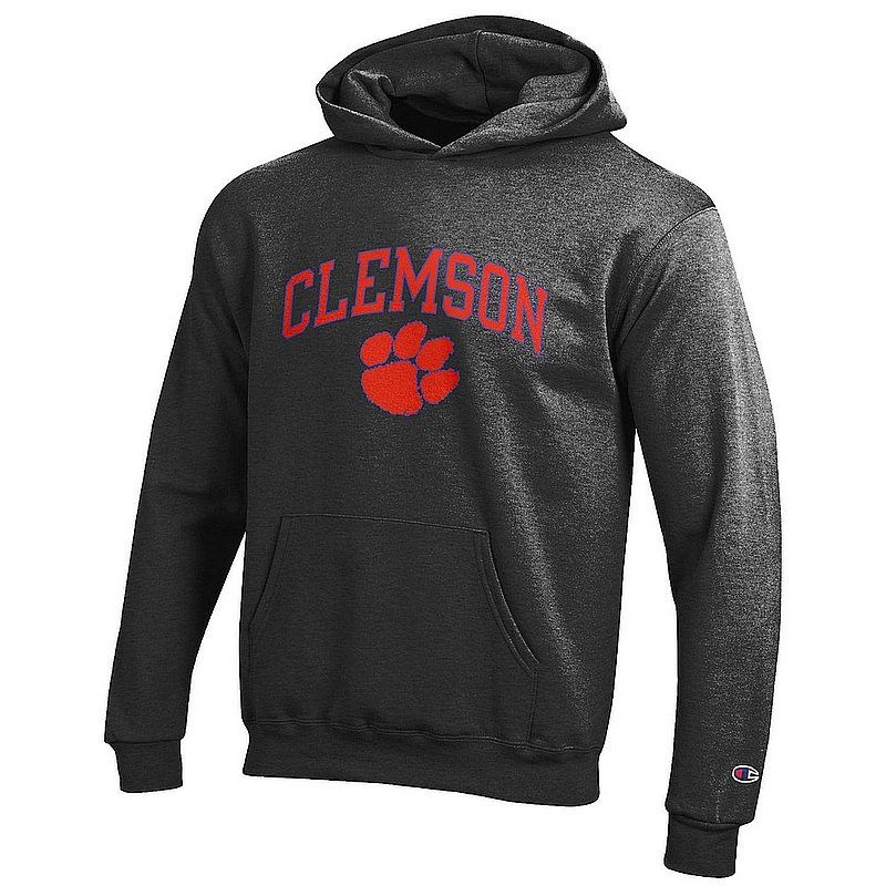 Clemson Tigers Kids Hooded Sweatshirt Arch Charcoal APC03018058