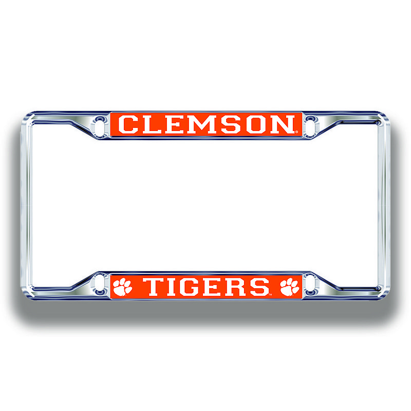 Clemson Tigers License Plate Frame Silver 14318