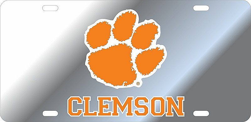 Clemson Tigers License Plate Silver 14321