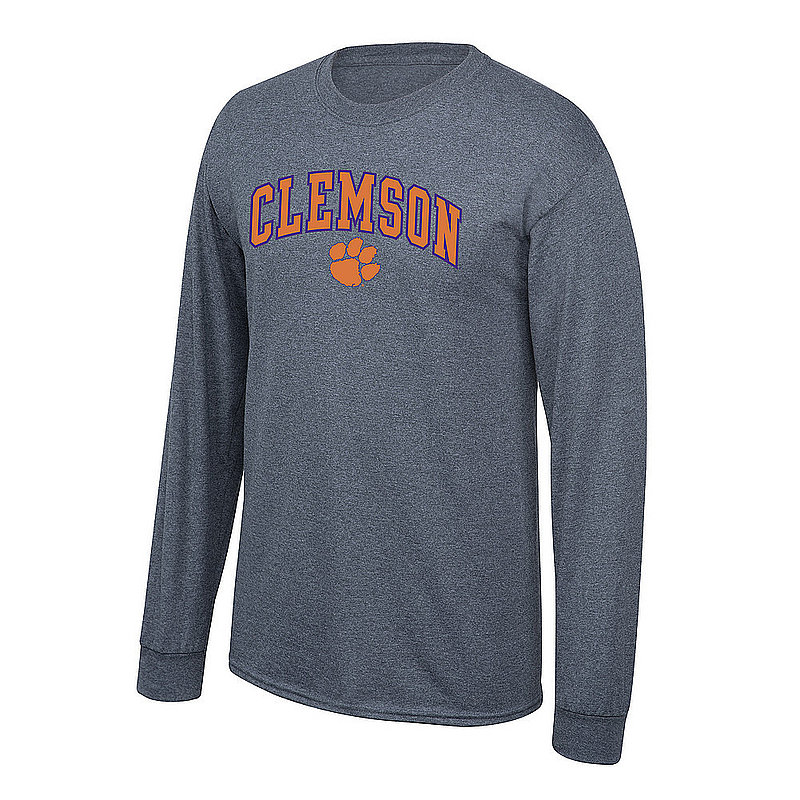 Clemson Tigers Long Sleeve Tshirt Arch Over Plus Size Charcoal