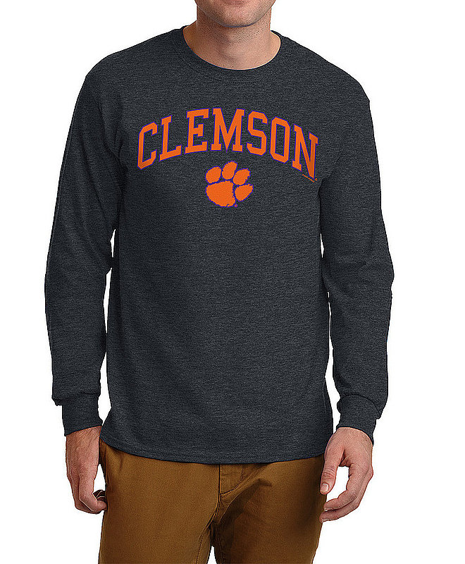 Clemson Tigers Long Sleeve TShirt Varsity Charcoal Arch Over APC02960969*