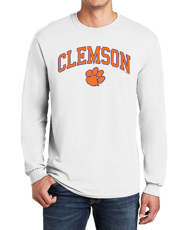Clemson Tigers Long Sleeve TShirt Varsity White Arch Over APC03006348*