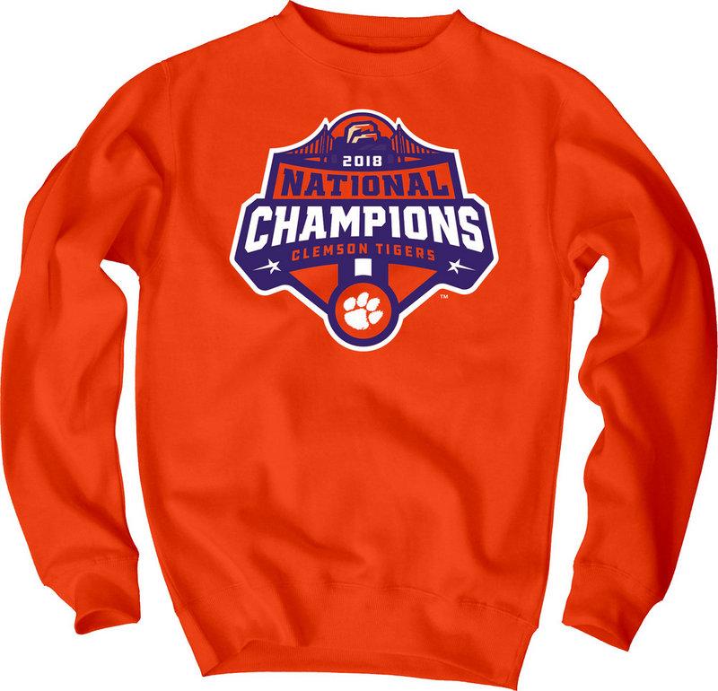 Clemson Tigers National Champs Crewneck Sweatshirt 2018 - 2019 Icon Orange JUNIORS-MASCOT-CFP18-NC_7784_CLM_MCS_ORANGE