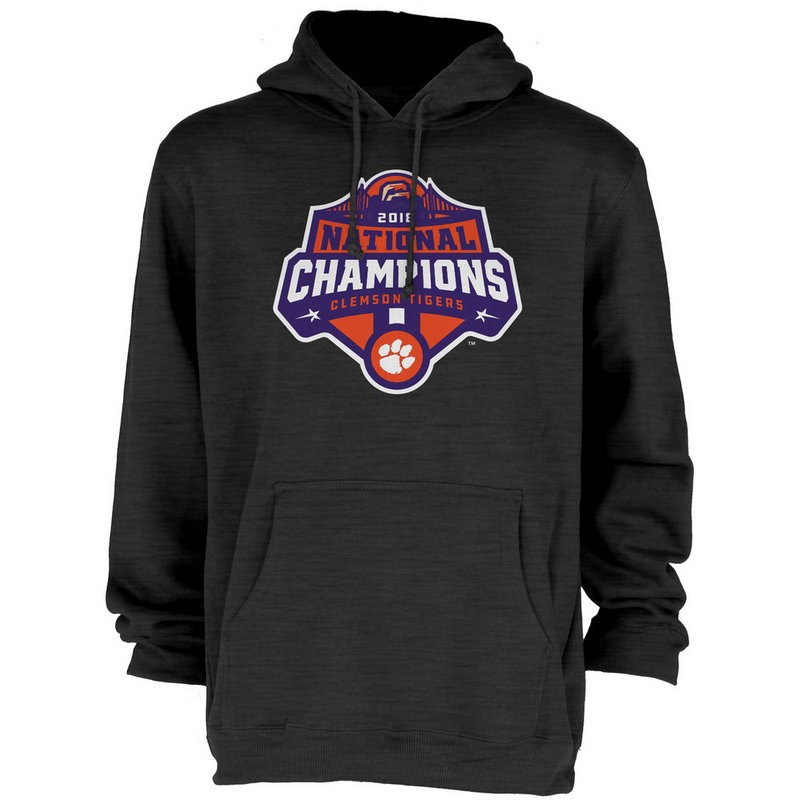Clemson Tigers National Champs Hooded Sweatshirt 2018 - 2019 Charcoal Icon JUNIORS-MASCOT-CFP18-NC_7784_CLM