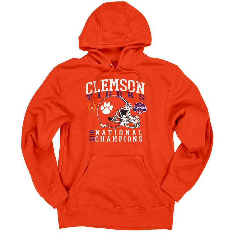 Clemson Tigers National Champs Hooded Sweatshirt 2018 - 2019 Helmet Orange NEVER-DIE-CFP18-NC
