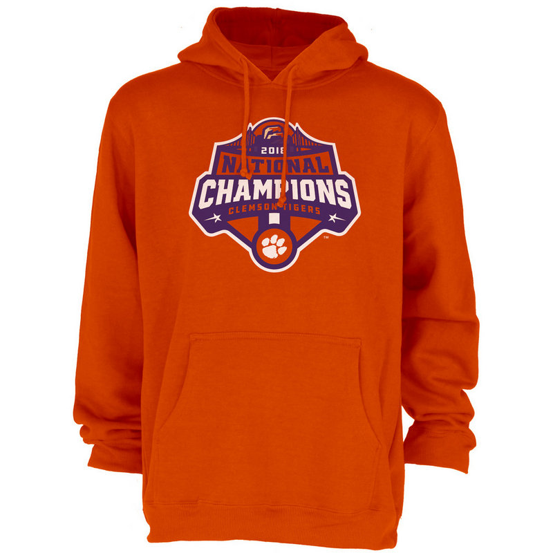 Clemson Tigers National Champs Hooded Sweatshirt 2018 - 2019 Icon Orange JUNIORS-MASCOT-CFP18-NC_7784_CLM