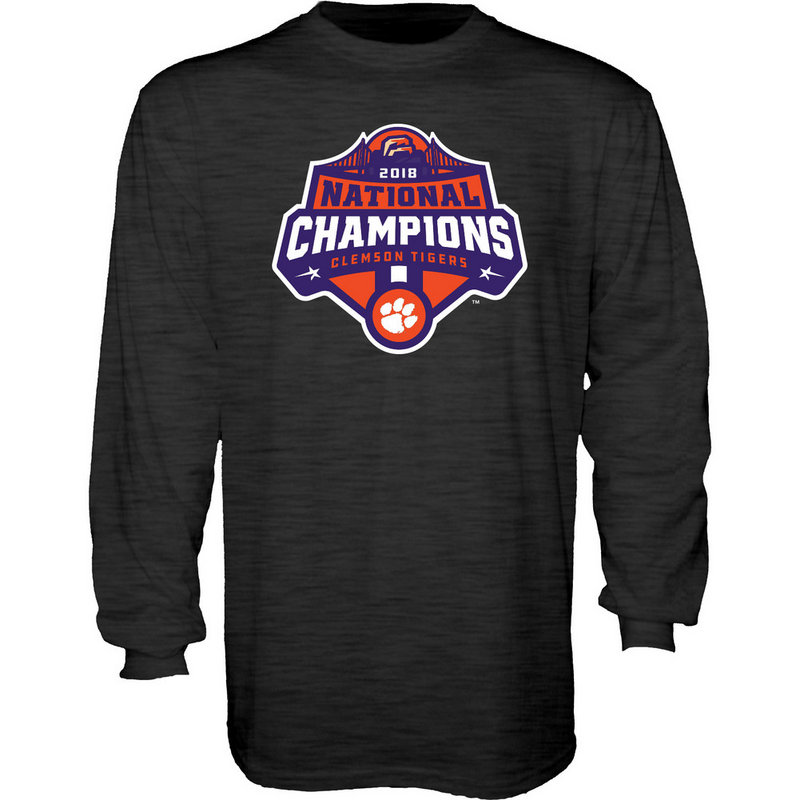 Clemson Tigers National Champs Long Sleeve Tshirt 2018 - 2019 Charcoal Icon JUNIORS-MASCOT-CFP18-NC_7784_CLM
