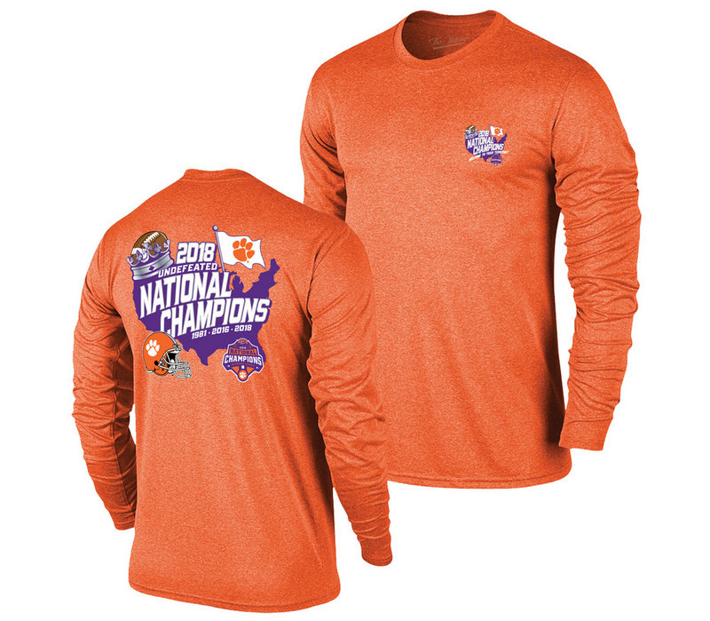 Clemson Tigers National Champs Long Sleeve Tshirt 2018 - 2019 Country Orange VCL9274A