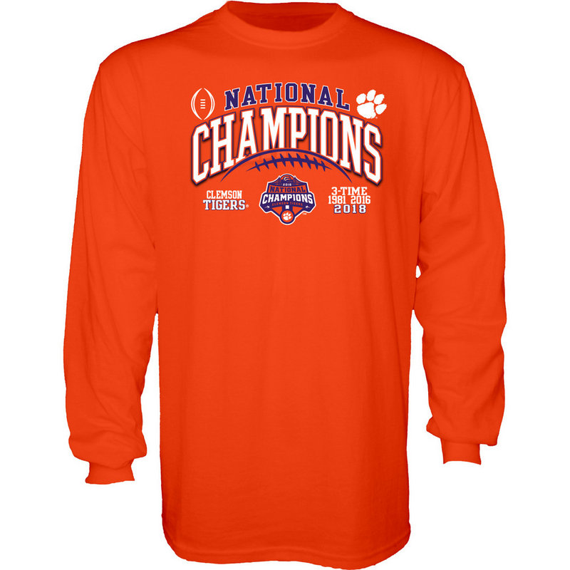 Elite Fan Shop Clemson Tigers National Champs Long Sleeve Tshirt 2018-2019 Charcoal Icon