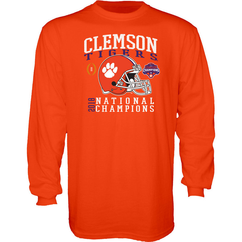 Clemson Tigers National Champs Long Sleeve Tshirt 2018 - 2019 Orange Helmet NEVER-DIE-CFP18-NC