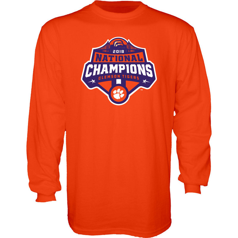 Clemson Tigers National Champs Long Sleeve Tshirt 2018 - 2019 Orange Icon JUNIORS-MASCOT-CFP18-NC_7784_CLM