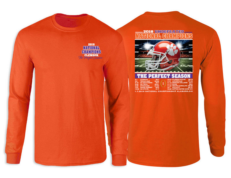 Clemson Tigers National Champs Long Sleeve Tshirt 2018 - 2019 Recap Orange RECAP