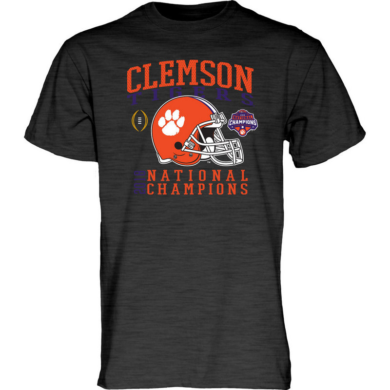 Clemson Tigers National Champs Tshirt 2018 - 2019 Charcoal Helmet NEVER-DIE-CFP18-NC