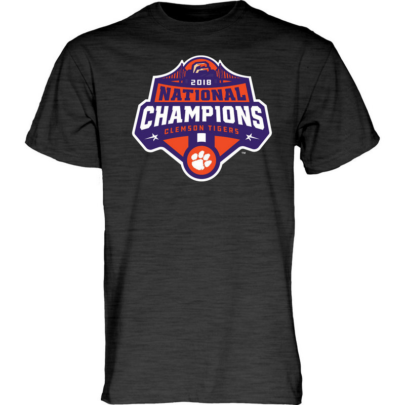 Clemson Tigers National Champs Tshirt 2018 - 2019 Charcoal Icon JUNIORS-MASCOT-CFP18-NC_7784_CLM