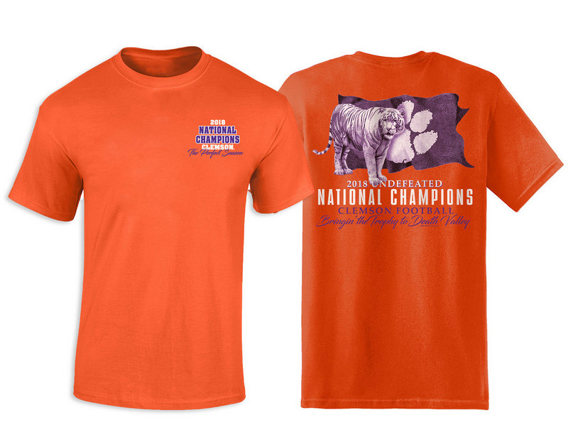 Clemson Tigers National Champs Tshirt 2018 - 2019 Flag Orange TRIED