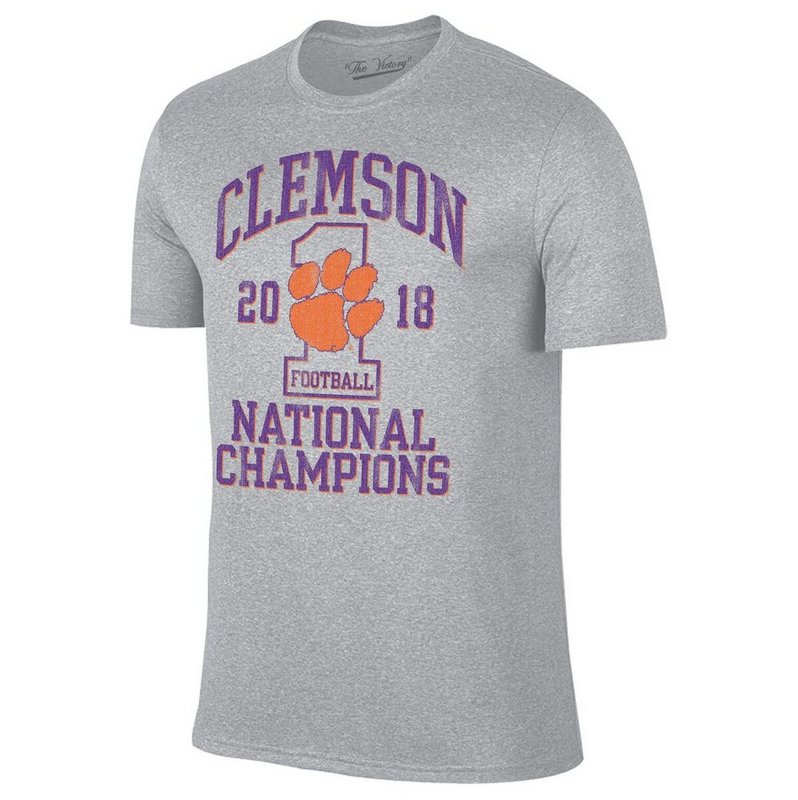 Clemson Tigers National Champs Tshirt 2018 - 2019 Gray VCL9211B
