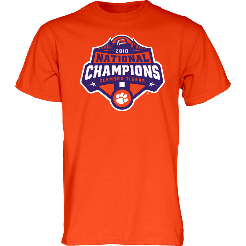 Clemson Tigers National Champs Tshirt 2018 - 2019 Icon Orange JUNIORS-MASCOT-CFP18-NC_7784_CLM