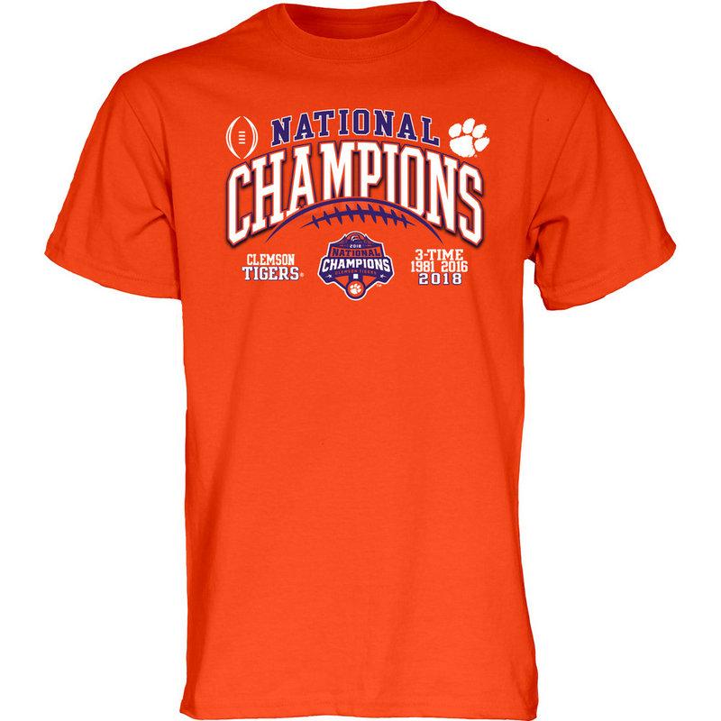 Clemson Tigers National Champs Tshirt 2018 - 2019 Laces Orange GILT-CFP18-NC
