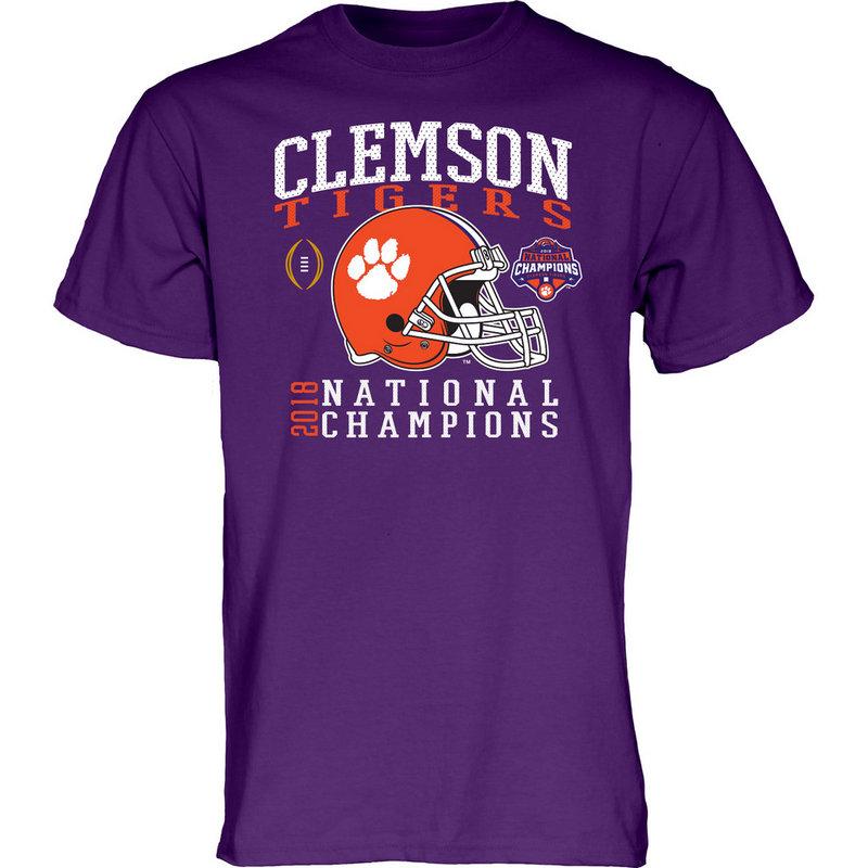 Clemson Tigers National Champs Tshirt 2018 - 2019 Purple Helmet NEVER-DIE-CFP18-NC