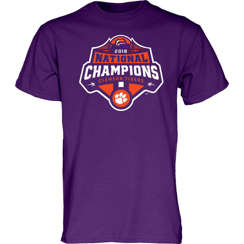 Clemson Tigers National Champs Tshirt 2018 - 2019 Purple Icon JUNIORS-MASCOT-CFP18-NC_7784_CLM