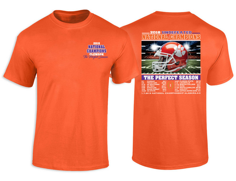 Clemson Tigers National Champs Tshirt 2018 - 2019 Recap Orange RECAP
