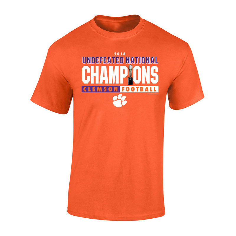 Clemson Tigers National Champs Tshirt 2018 - 2019 Trophy Orange FIRST