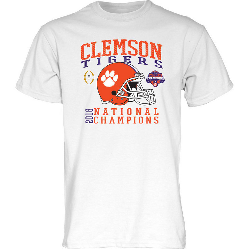Clemson Tigers National Champs Tshirt 2018 - 2019 White Helmet NEVER-DIE-CFP18-NC