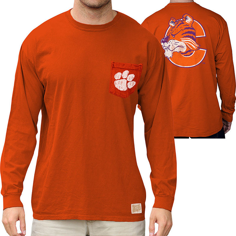 Clemson Tigers Retro Pocket Long Sleeve TShirt Orange RB406