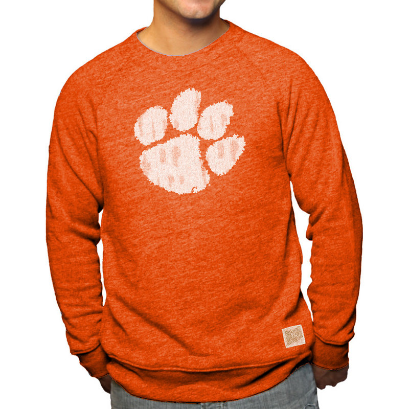 Clemson Tigers Retro TriBlend Crewneck Sweatshirt Orange CCLM071A_OGF