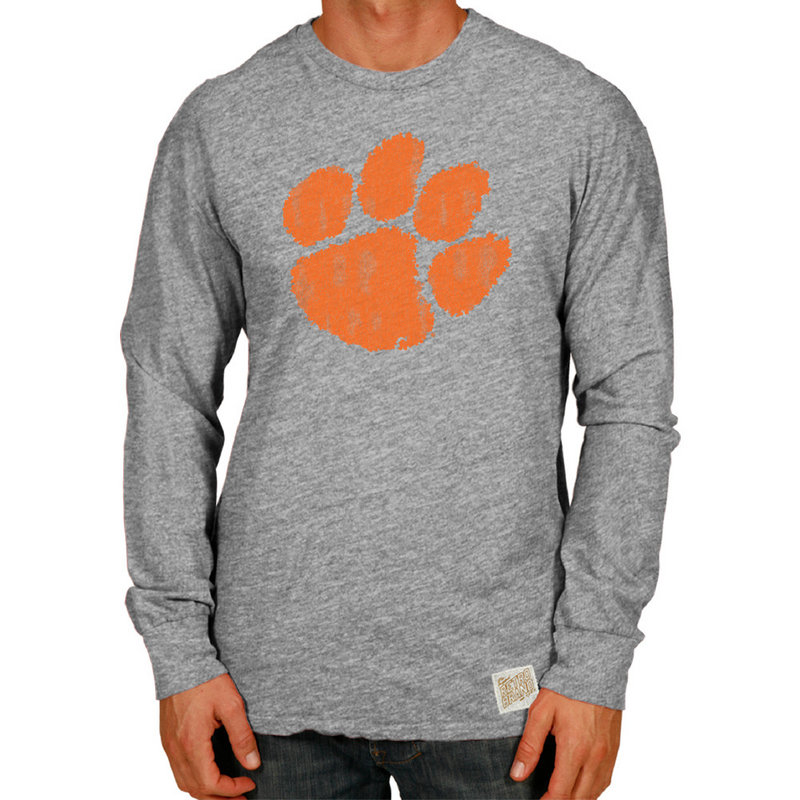 Clemson Tigers Retro TriBlend Long Sleeve Tshirt Gray CCLM071C