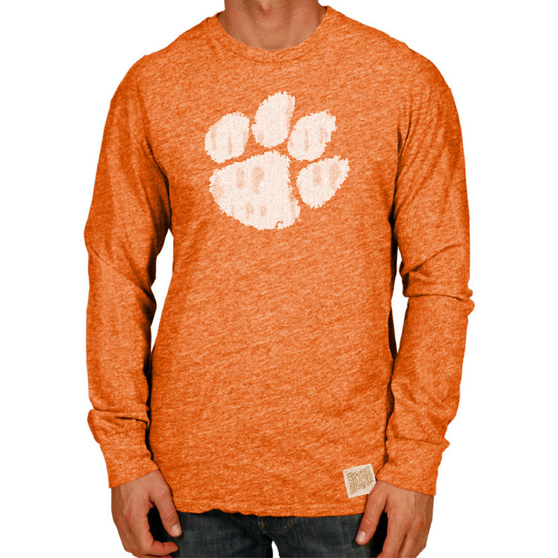 Clemson Tigers Retro TriBlend Long Sleeve Tshirt Orange CCLM071A_SOR