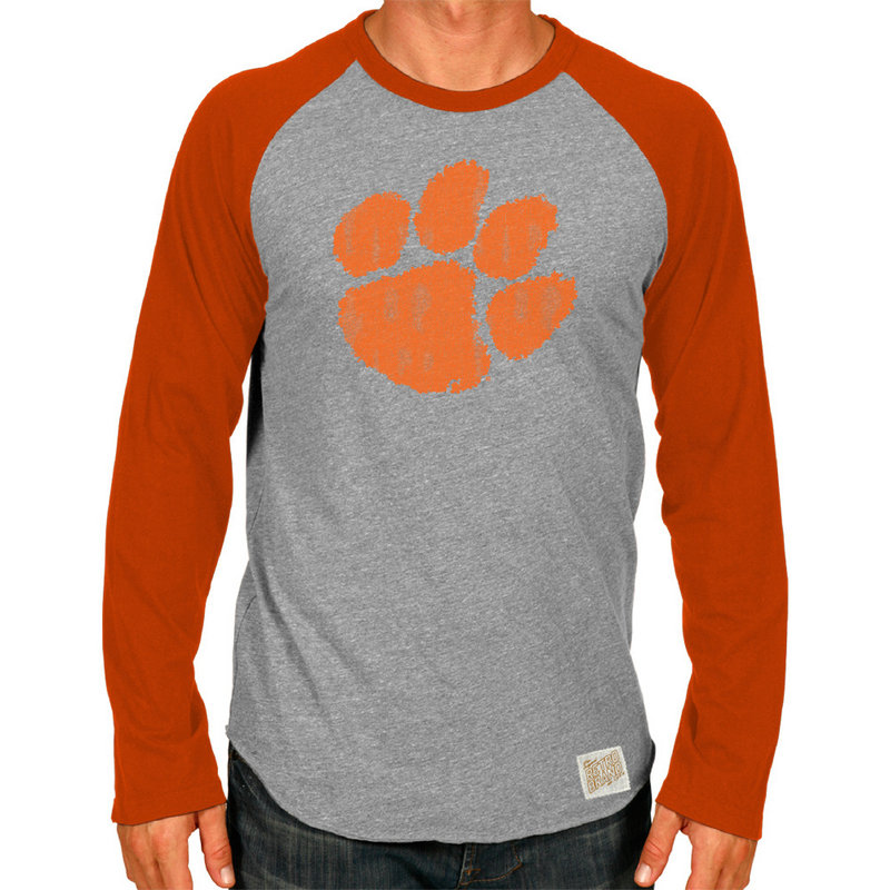 Clemson Tigers Retro TriBlend Long Sleeve Tshirt Raglan Gray CCLM071C