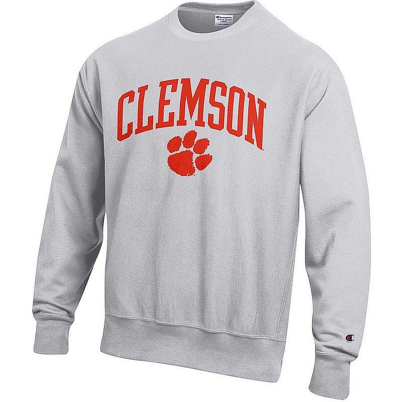 Clemson Tigers Reverse Weave Crewneck Sweatshirt Gray APC03005054