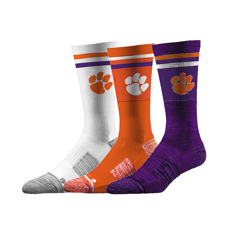 Clemson Tigers Socks 3-Pack Retro Stripe