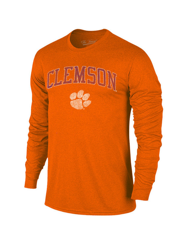 Clemson Tigers Vintage Long Sleeve Tshirt Orange Victory TV402_CLMV1412A_HOG