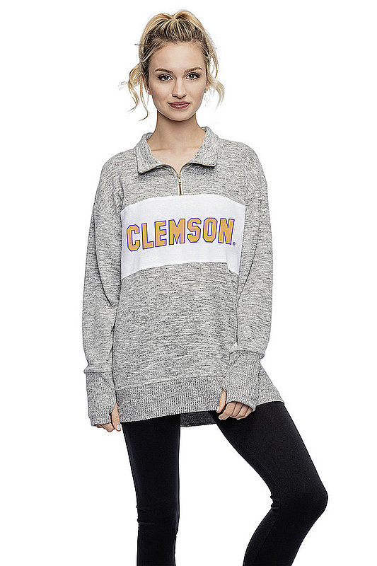 Clemson Tigers Women's Quarter Zip Gray 427-18-CL289