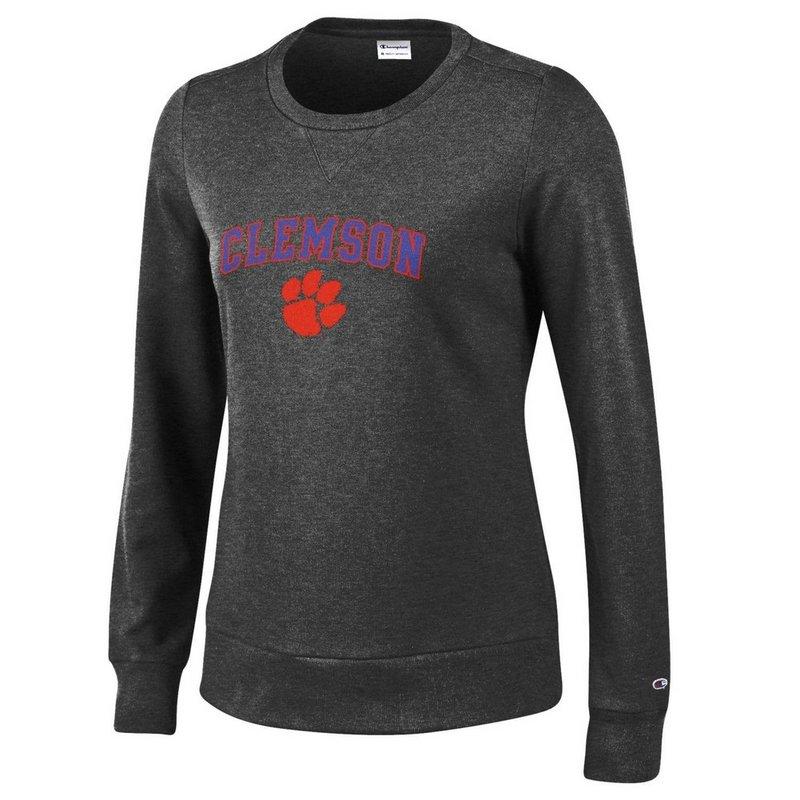 Clemson Tigers Womens Crewneck Sweatshirt Arch Charcoal APC03059631
