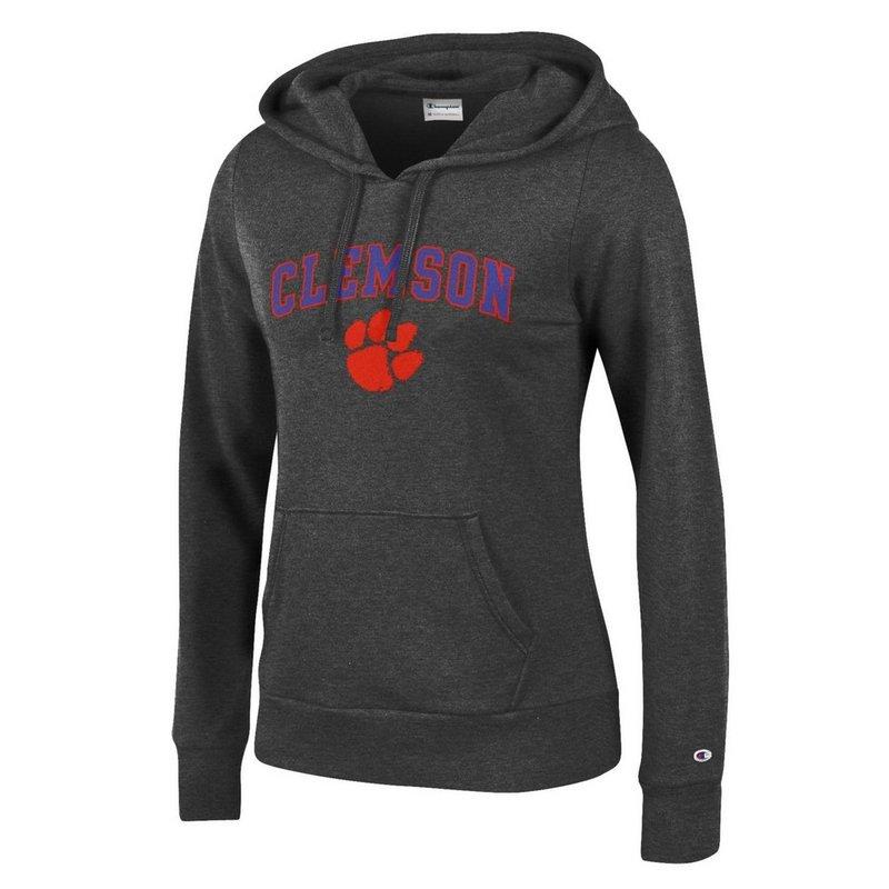 Clemson Tigers Womens Hoodie Sweatshirt Arch Charcoal APC03059631