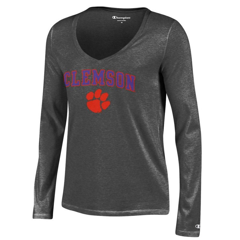 Clemson Tigers Womens VNeck Long Sleeve TShirt Charcoal APC03059631