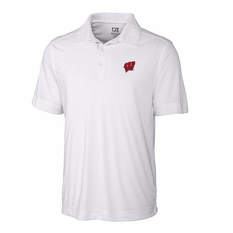 Cutter And Buck Wisconsin Badgers Polo Shirt White MCK00753WH (Cutter And Buck)