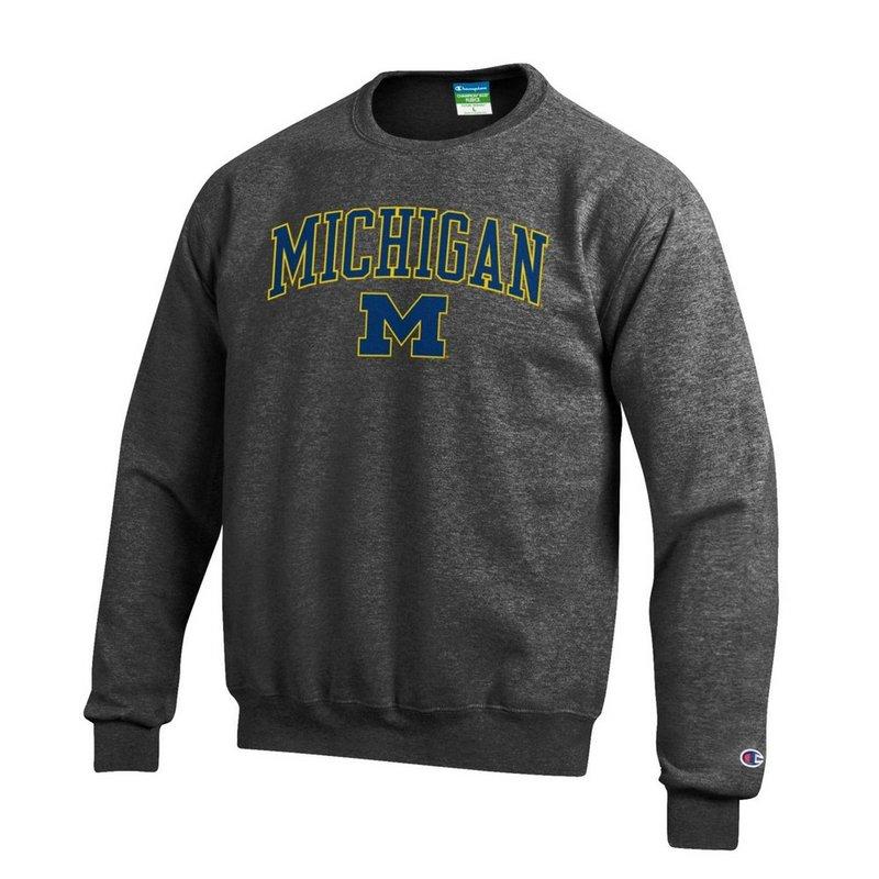 Elite Fan Shop Michigan Wolverines Crewneck Sweatshirt Varsity Charcoal APC02845656 (Elite Fan Shop)