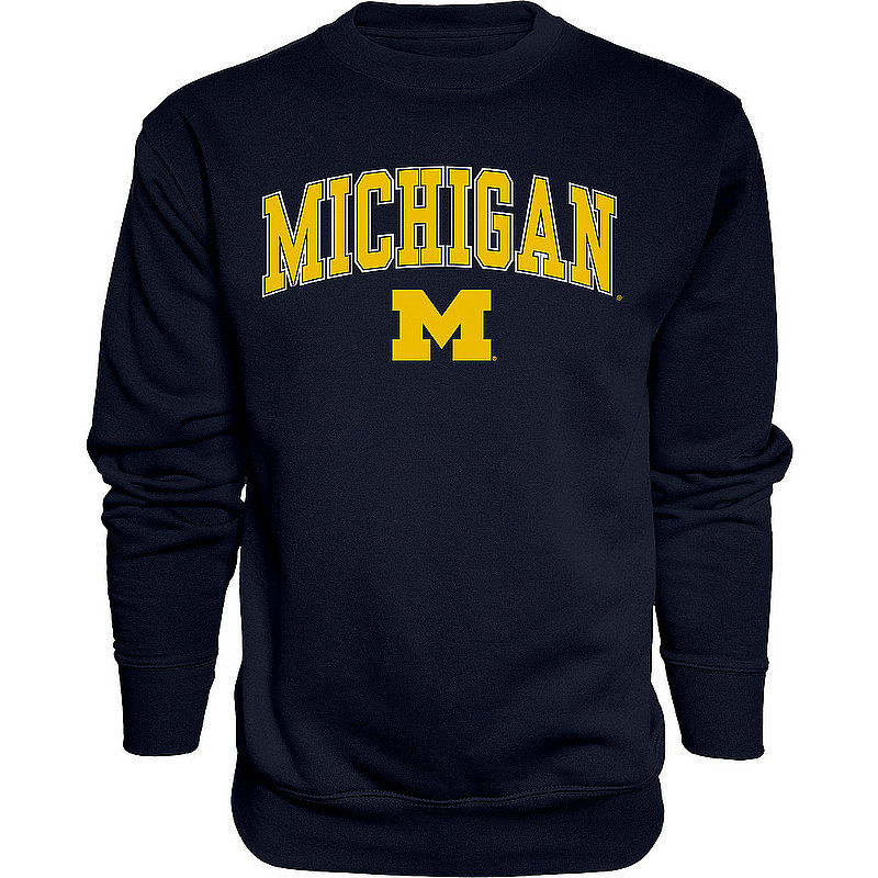 Elite Fan Shop Michigan Wolverines Crewneck Sweatshirt Varsity Navy APC02827796 (Elite Fan Shop)