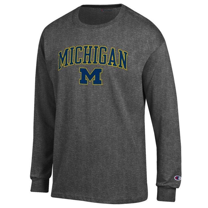 Elite Fan Shop Michigan Wolverines Long Sleeve Tshirt Varsity Charcoal APC02845656 (Elite Fan Shop)